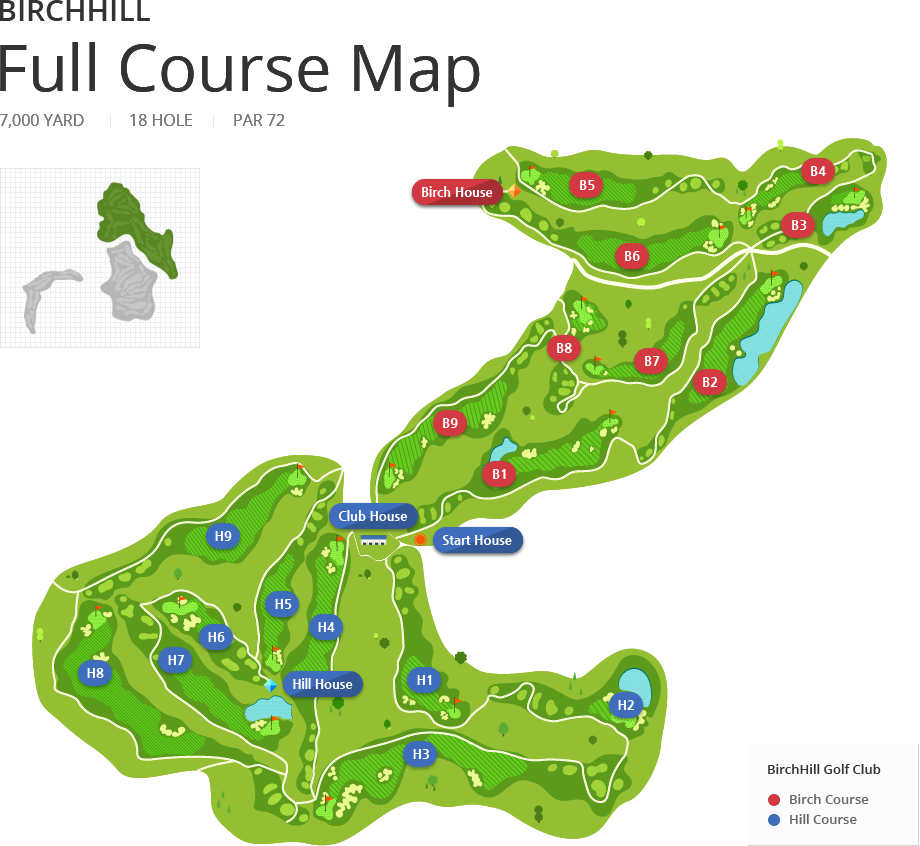 BirchHill Full Course Map - 7,000 YARD, 18 HOLE, PAR 72