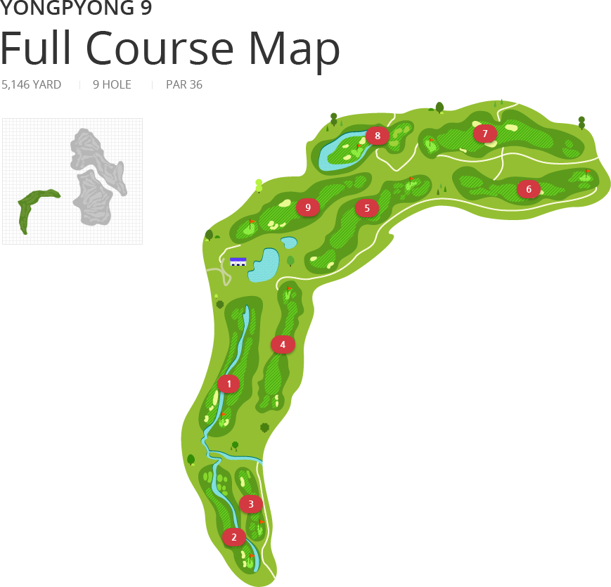 Yongpyong 9 Full Course Map - 5,146 YARD, 9 HOLE, PAR 36