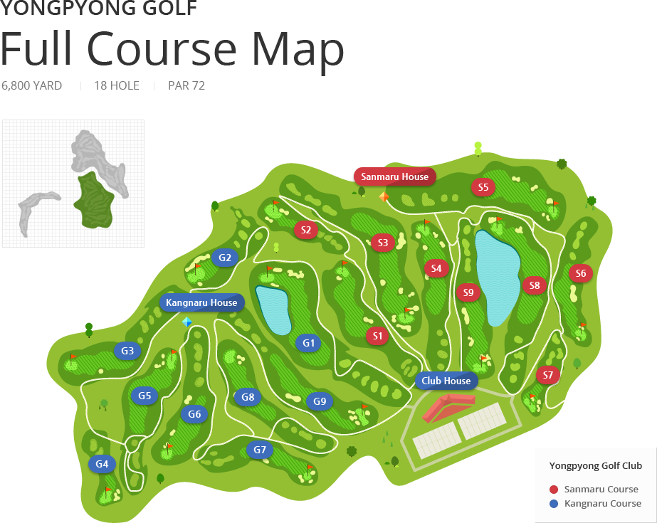 Yongpyong Golf Club Full Course Map - 6,800 YARD, 18 HOLE, PAR 72